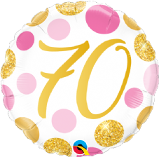 70th Gold & Pink Dots